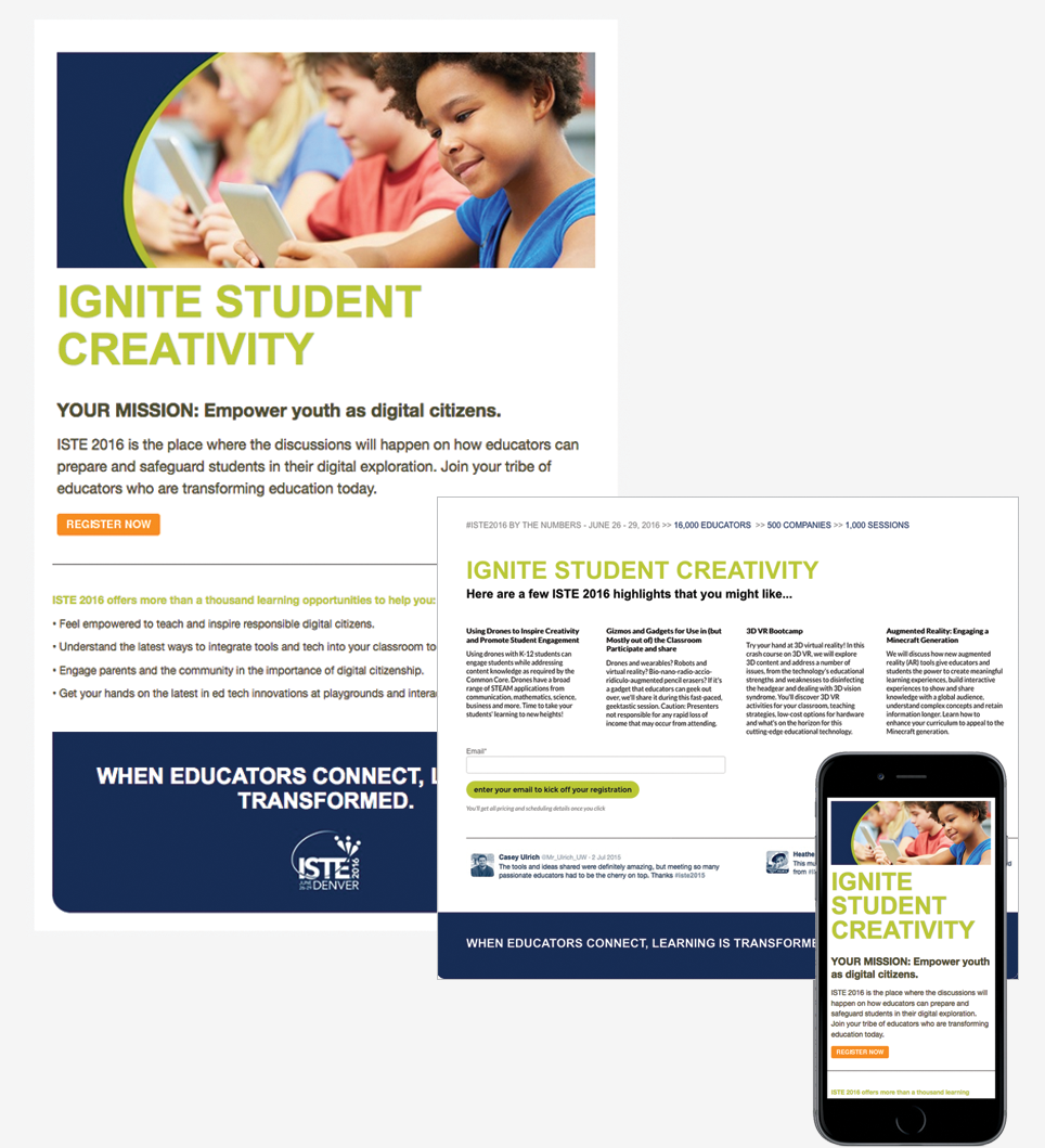 ISTE landing page and email