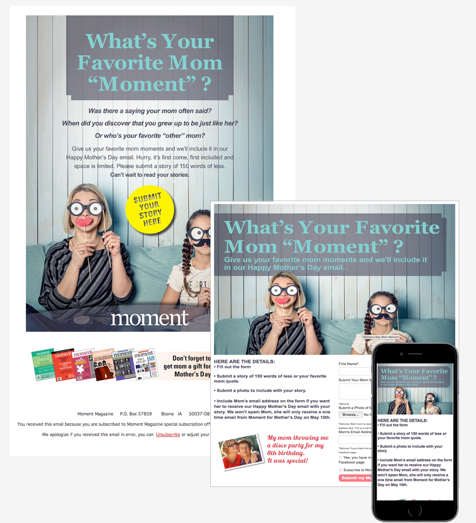 Moment Mother's Day email and landing page