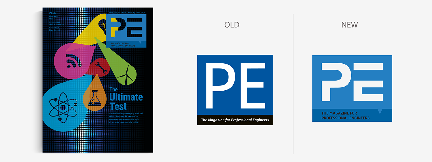 PE Magazine old logo and new